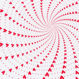 Twisting and spinning hearts valentines background Stock Image