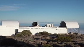 Twisting telescope at the astronomical station. In the mountains of Tenerife stock video footage