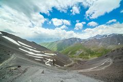 Twisting trail from Kegety pass, Kyrgyzstan Stock Images