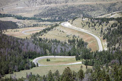 A twisting, winding mountain road Royalty Free Stock Photo