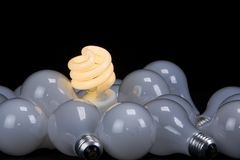 Twisty light bulb... save the planet. Save the planet, use more ecological light bulbs stock photo