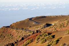 Twisty road in El Teide, Tenerife stock photography