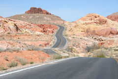Twisty Road. Through Valley of Fire park in Nevada Stock Photos