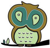 Twit Twoo the Wise Owl. Twit Twoo the Owl sitting on his tree royalty free illustration