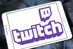 Twitch mobile logo. Logo of Twitch on samsung tablet . twitch is a live streaming video platform for gamers owned by amazon Royalty Free Stock Photos