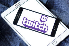 Twitch mobile logo. Logo of Twitch on samsung mobile on samsung tablet. twitch is a live streaming video platform for gamers owned by amazon Stock Photos