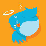 Twitless - twitter down. Twitter Down - dead bird - cannot Twit with colourfull and flat design Stock Image
