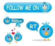 twitter иконы кнопки установленный Стоковая Фотография