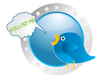 Twitter. The blue collor twitter and follow me text Stock Photos