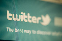 Twitter. Macro image of monitor with twitter social network loaded in web browser stock photo