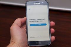 Twitter app på Android Royaltyfria Bilder