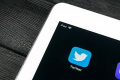 Twitter application icon on Apple iPad Pro smartphone screen close-up. Twitter app icon. Social media icon. Social network stock photo