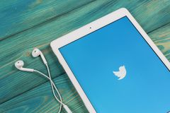 Twitter application icon on Apple iPad smartphone screen close-up. Twitter app icon. Social media icon. Social network. Sankt-Petersburg, Russia, April 1, 2018 Royalty Free Stock Photos
