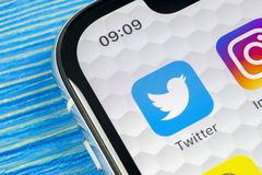 Twitter application icon on Apple iPhone X smartphone screen close-up. Twitter app icon. Social media icon. Social network. Sankt-Petersburg, Russia, June 10 Stock Photo