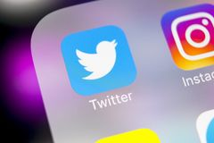 Twitter application icon on Apple iPhone X smartphone screen close-up. Twitter app icon. Social media icon. Social network. Sankt-Petersburg, Russia, March 6 Royalty Free Stock Image