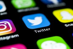 Twitter application icon on Apple iPhone X smartphone screen close-up. Twitter app icon. Social media icon. Social network. Sankt-Petersburg, Russia, April 12 Royalty Free Stock Photos