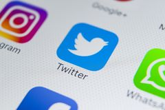 Twitter application icon on Apple iPhone 8 smartphone screen close-up. Twitter app icon. Twitter is an online social networking. Sankt-Petersburg, Russia Royalty Free Stock Photography