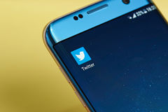Twitter application icon. New york, USA - June 23, 2017: Twitter application icon on smartphone screen close-up. Twitter app icon with copy space on screen Stock Photos