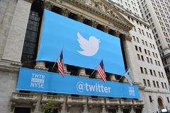 Twitter. Banner on the New York Stock Exchange as Twitter goes public Stock Image