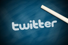 Twitter. Banner with a white chalk on chalkboard stock photography