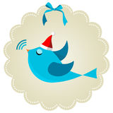 Twitter bird at Christmas time. Twitter bird communication at Christmas time. Social media network connection concept Royalty Free Stock Photos