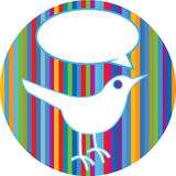 Twitter bird on colorful lines. A bird or twitter illustration on a rainbow lined background Stock Photos