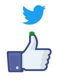 Twitter bird droppings on Facebook's  Royalty Free Stock Photo