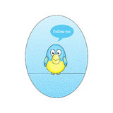 Twitter bird follow me. Illustration of Twitter Bird with speech bubble on blue background Stock Photography