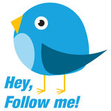 Twitter bird follow me. Twitter bird icon with follow me message Stock Photography