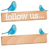 Twitter Bird with Follow Us sign stock illustration