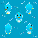 Twitter bird funny. Illustration of a twitter bird on blue background Stock Photos