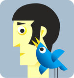 Twitter Bird with head. Illustration of Twitter Bird with head of man Royalty Free Stock Image