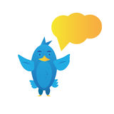 Twitter bird. Illustration of a  twitter cute blue bird Stock Image