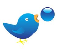 Twitter Bird. Illustration of Twitter Bird on white background Royalty Free Stock Images