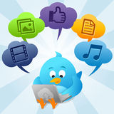 Twitter Bird Is Using Cloud Computing Royalty Free Stock Photo