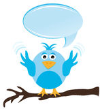 Twitter bird with speech bubble. Standing on a branch Royalty Free Stock Photo
