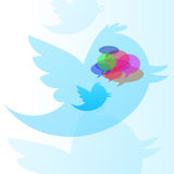 Twitter bird with speech bubble. Twitter bird with many speech bubble in various colors Royalty Free Stock Photos