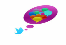 Twitter bird with speech bubble in various colors. Twitter bird with many speech bubble in various colors Stock Photos