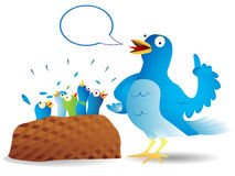Twitter bird talking. Very talkative twitter bird giving a speech to its hungry kids Royalty Free Stock Image