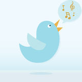 Twitter bird vector singing. Vector file contain transparency Royalty Free Stock Photos