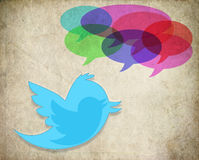 Twitter Bird words speech bubble Royalty Free Stock Photo