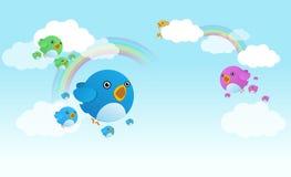Twitter birds. The family of twitter birds Royalty Free Stock Photos