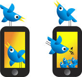 Twitter Birds. Illustration of Twitter Birds on white background with cellular telephone Royalty Free Stock Photo