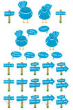 Twitter birds collection. Blue twitter birds standing next to each other. Accompanied by several signs, text balloons and other birds Royalty Free Stock Images