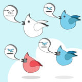 Twitter birds social network cartoon. Group of cartoon birds flying together Royalty Free Stock Image