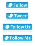 Twitter Buttons EPS. A set of five large twitter buttons with various tag lines. Available in vector EPS format
