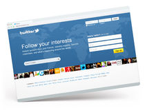 Twitter.com home page. Minsk - August 30: Twitter.com home page, the most popular microblogging site on August 29, 2011 in Minsk, Belarus Royalty Free Stock Photography
