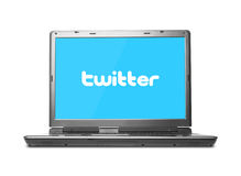 Twitter Concept. Twitter on laptop screen against white background Stock Photos