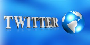 Twitter graphic. Twitter in 3D block letters with globe on blue Royalty Free Stock Photo
