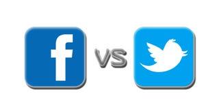 Twitter de Facebook v Imagens de Stock Royalty Free
